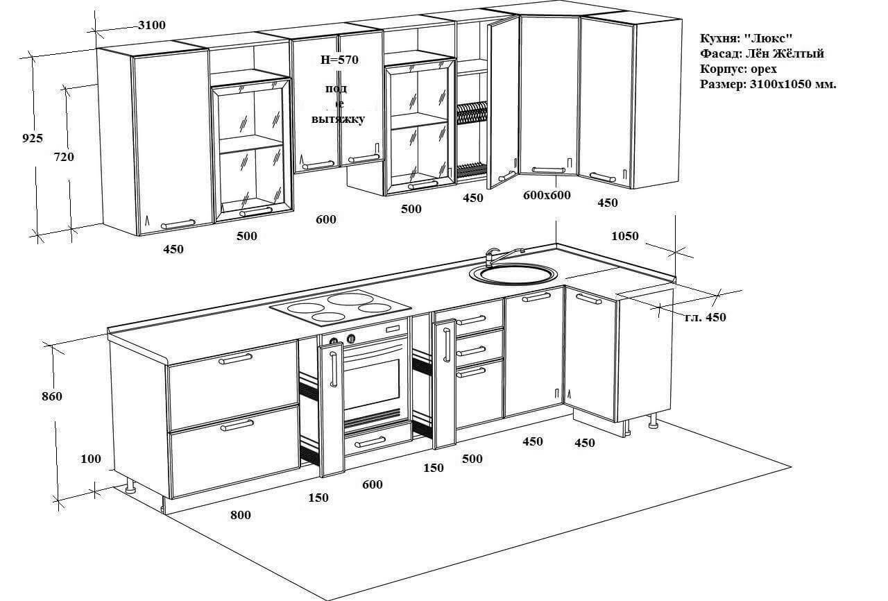 Как сделать кухонный гарнитур и его схема